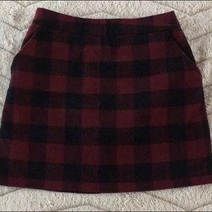 Maroon and black mini skirt